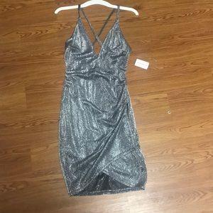 Silver sparkly mini dress